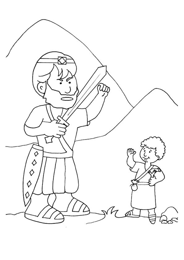 David and Goliath Story Coloring Page