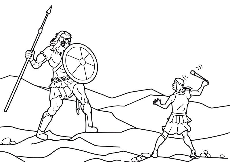 David and Goliath Story Coloring Pages