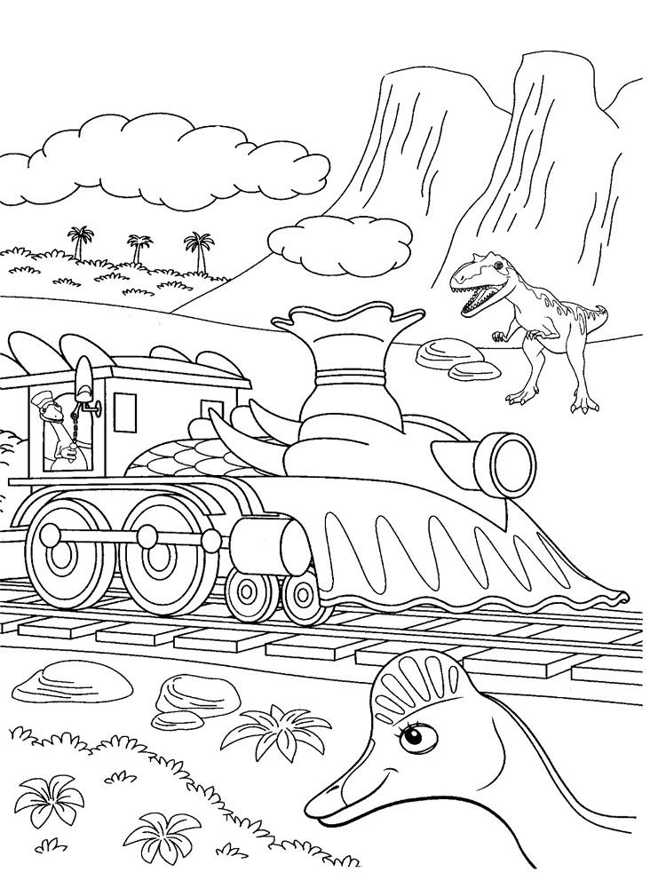 Dinosaur Train Scene Coloring Pages