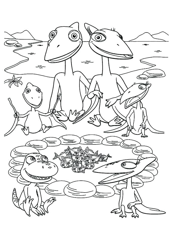 Dinosaur Train Characters Coloring Page