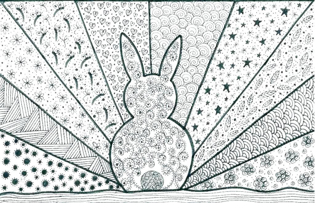 Easy Bunny Coloring Pages for Adults