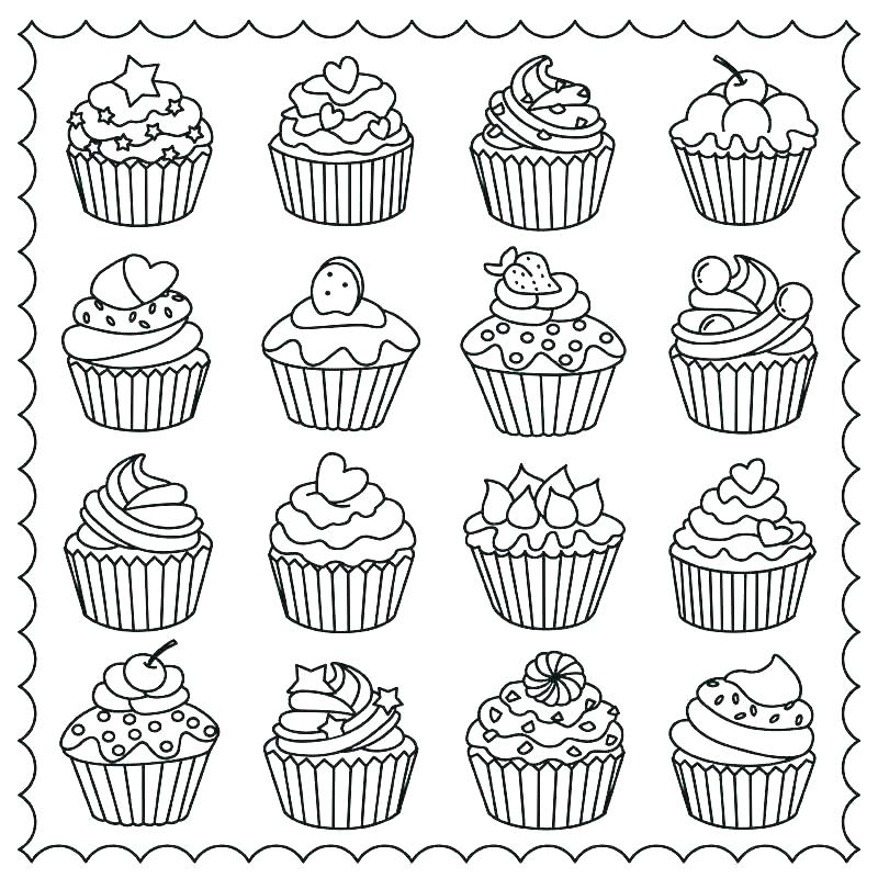 Easy Cupcake Coloring Page for Adults