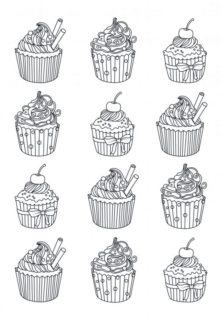 Easy Cupcake Coloring Pages for Adults