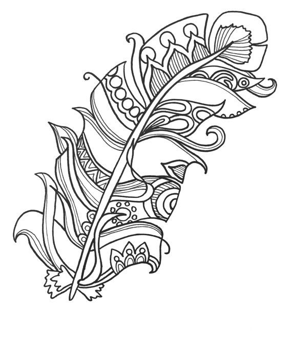 Easy Feather Coloring Pages for Adults
