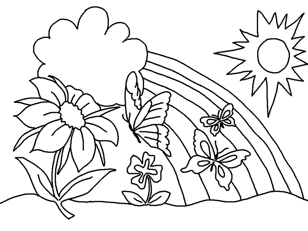 Easy Nature Scene Coloring Page for Adults
