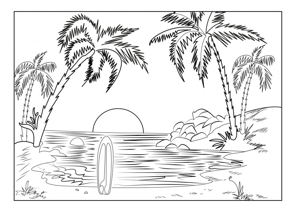 Easy Tropical Scene Coloring Pages for Adults