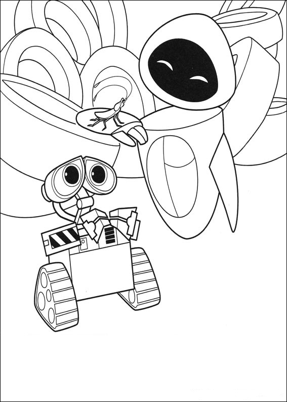 Eve and Wall-E Coloring Page