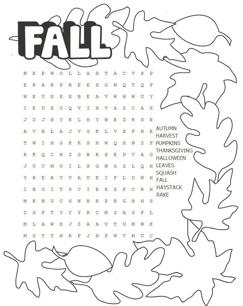 Fall Third Grade Word Search