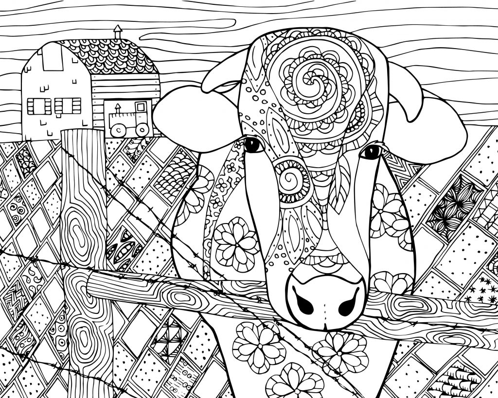 Farm Cow - Easy Coloring Pages for Adults