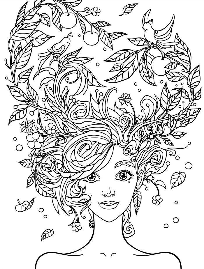 Girl with Hair Easy Adult Coloring Page