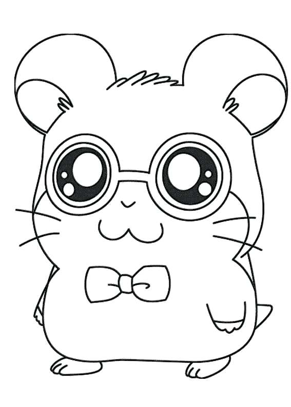Hamster with Glasses Coloring Pages