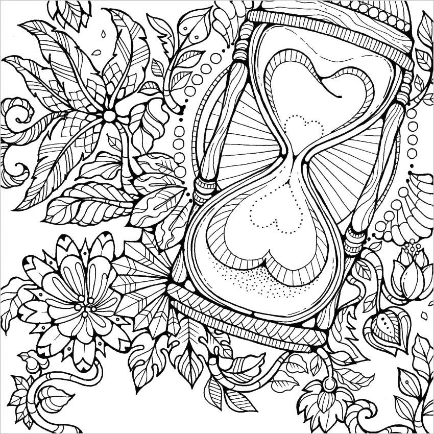 Heart Hourglass Adult Coloring Page