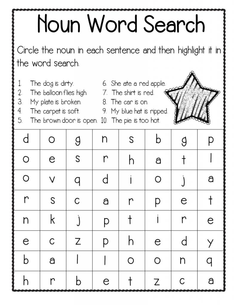 Noun Third Grade Word Search