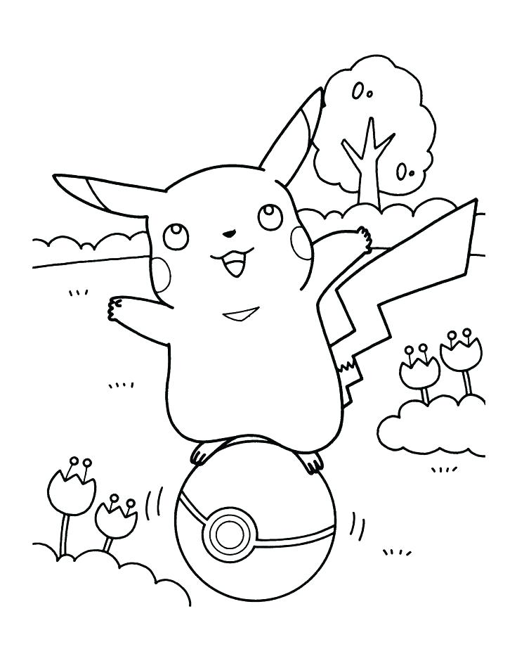 Pickachu Pokeball Coloring Page