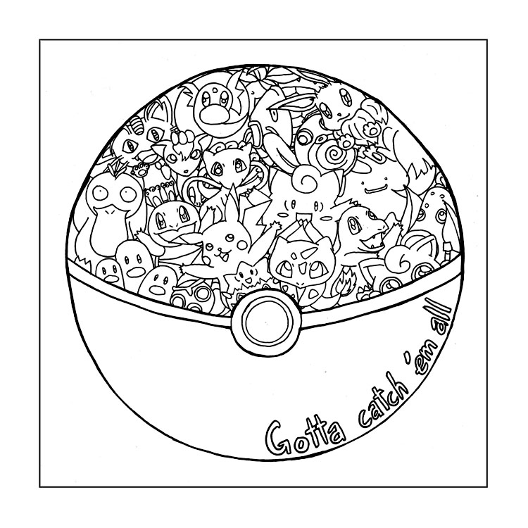 Pokeball With Characters Coloring Page