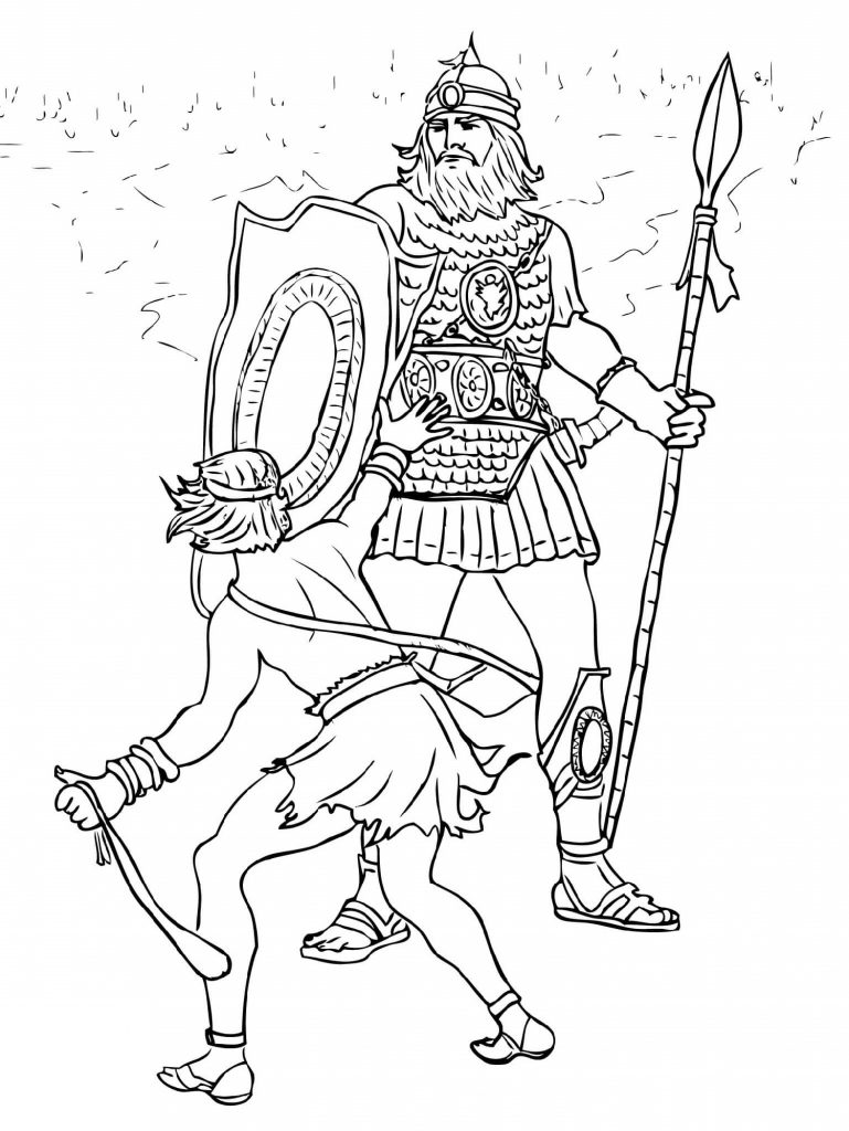 Print and Color David and Goliath