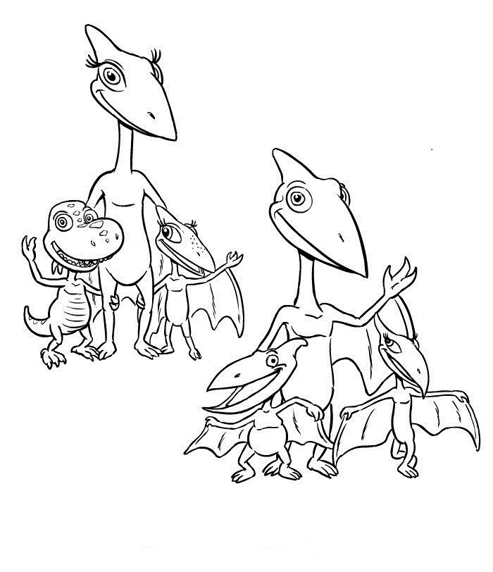 Pteranodon Family - Dinosaur Train Coloring Page