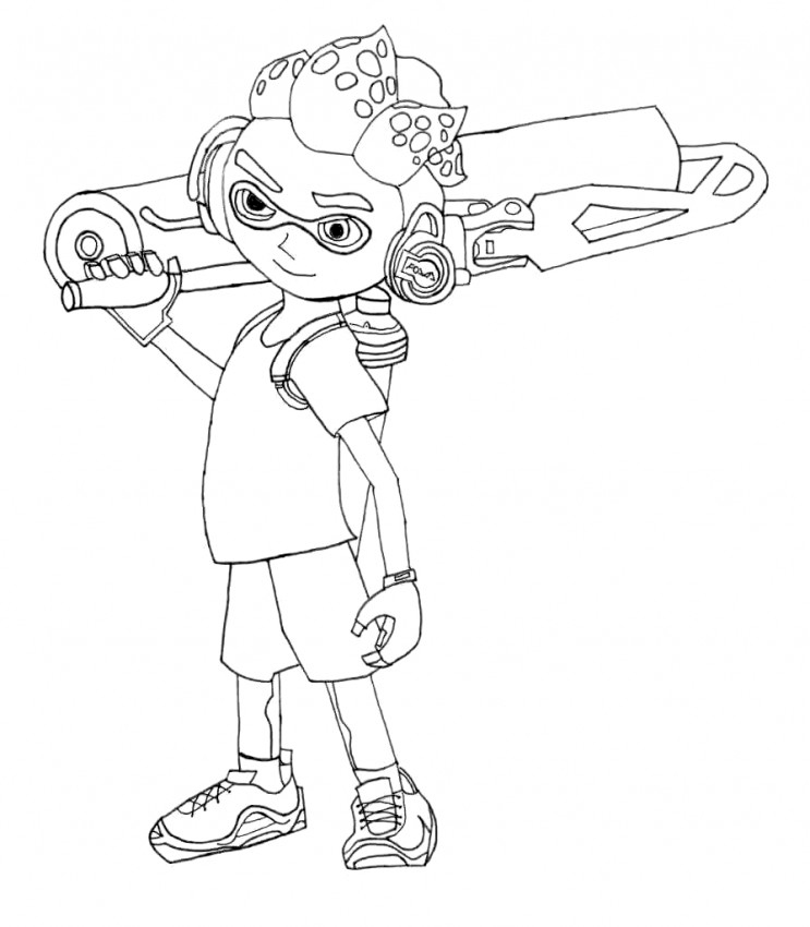 Splatoon Game Boy Character Coloring Page
