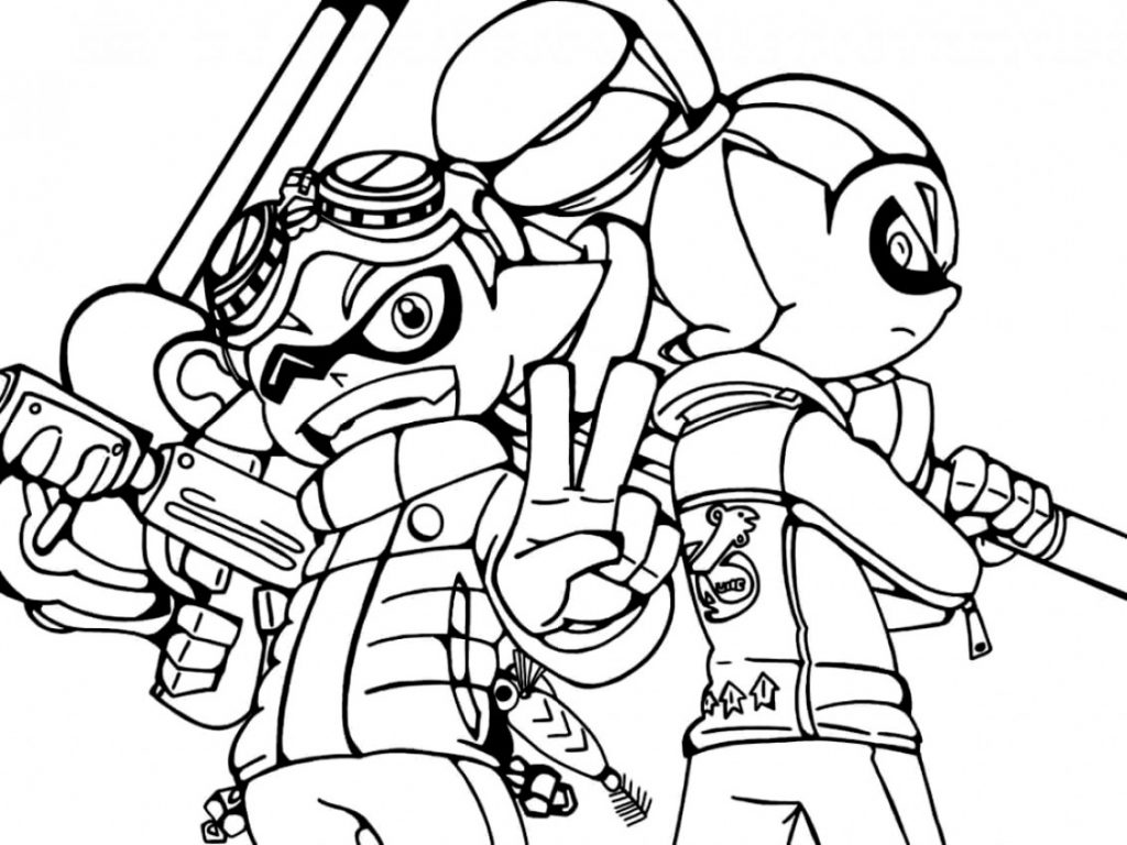 Splatoon Game Characters Coloring Page