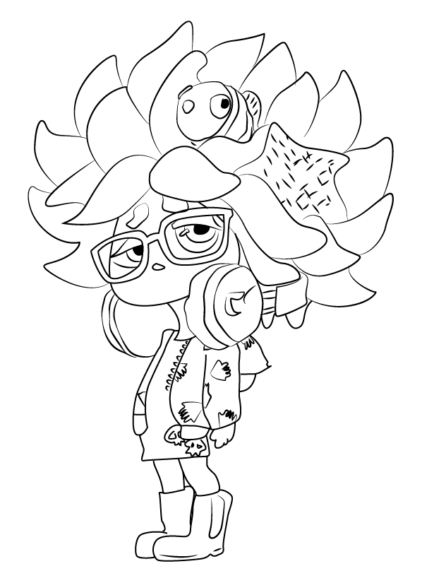 Splatoon Game Girl Character Coloring Page
