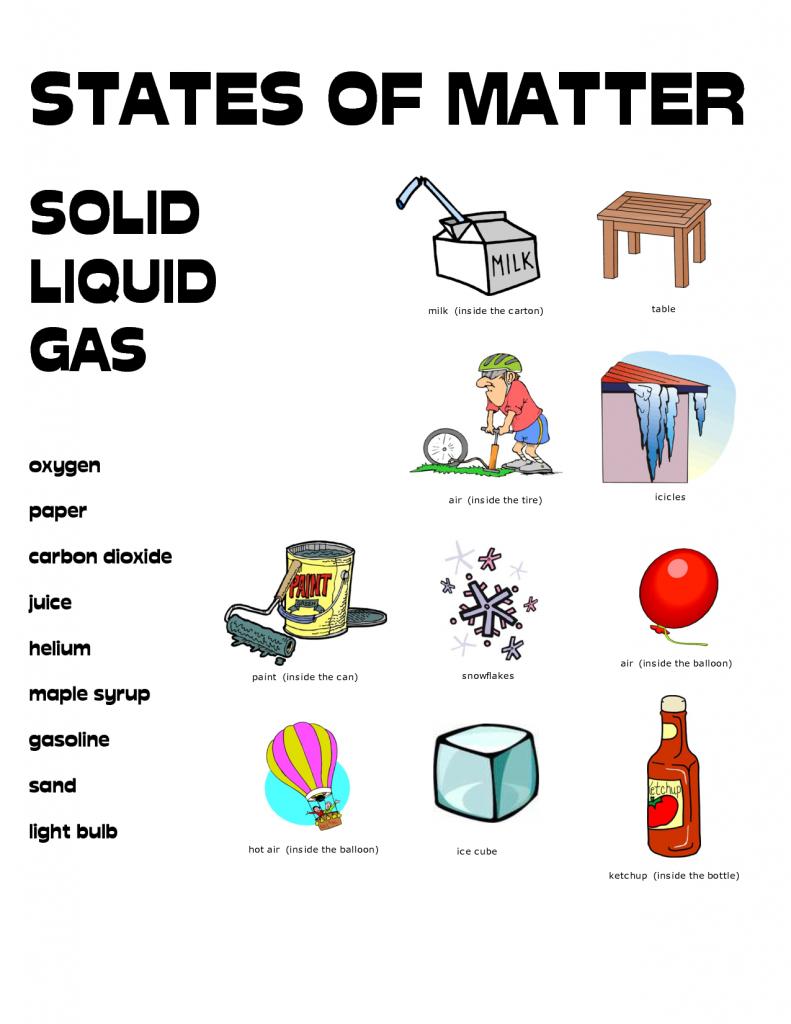 States of Matter - 4th Grade Science Worksheet