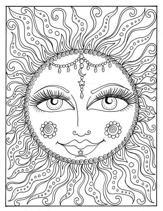 Sun - Easy Coloring Pages for Adults