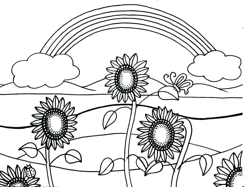 Sunflowers - Easy Coloring Pages for Adults