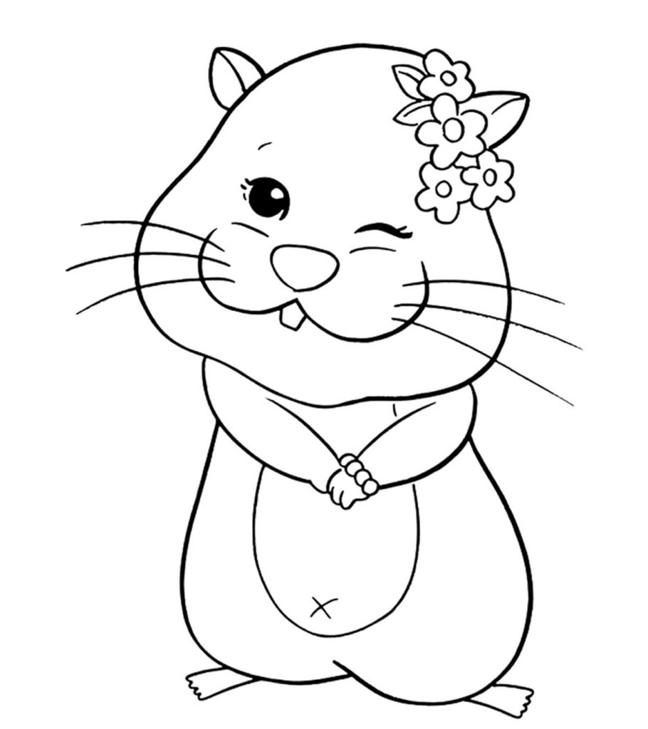 Sweet Hamster Coloring Page