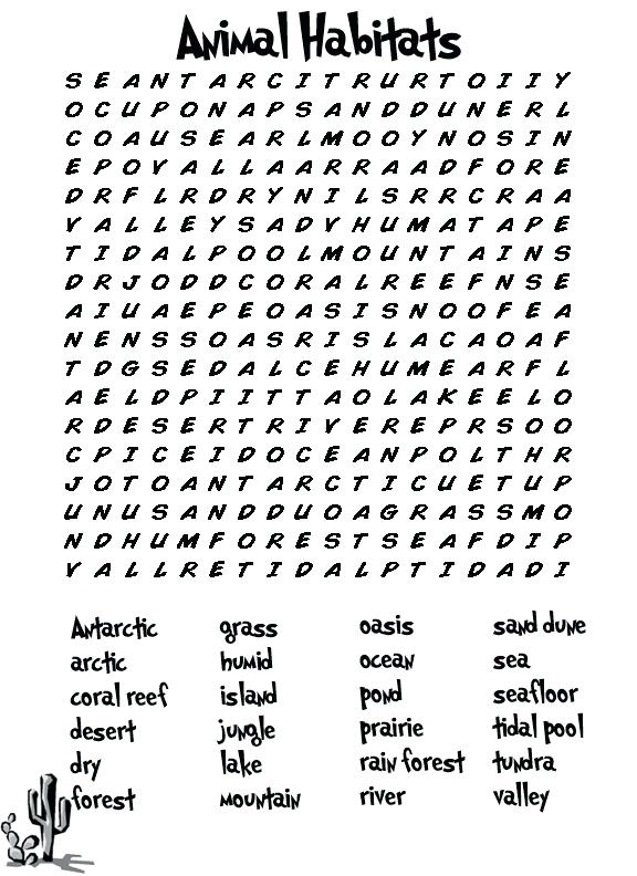 Third Grade Animal Word Search