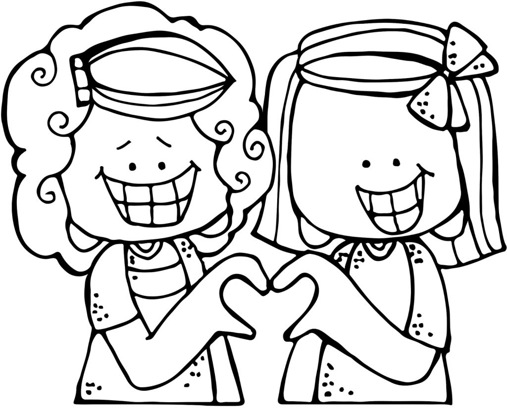 Two Girls Heart with Hands Coloring Page