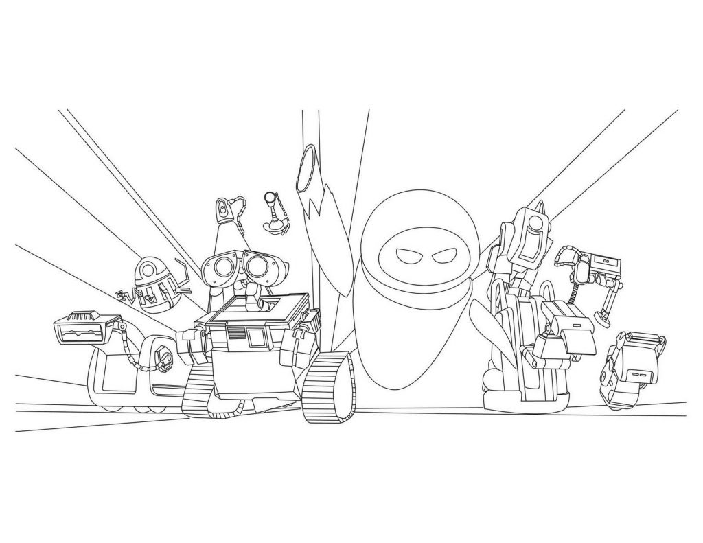 WALL-E Movie Characters Coloring Page