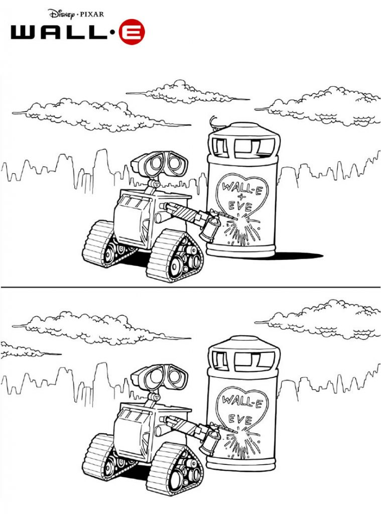 Wall-E Loves Eve Coloring Page