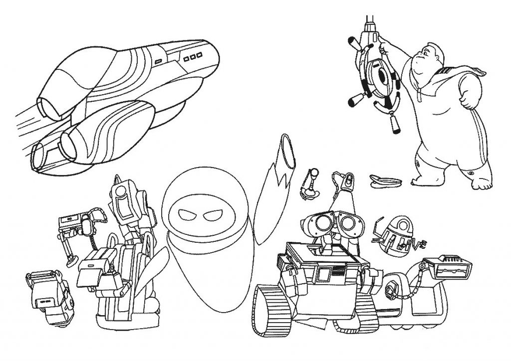 WallE Characters Coloring Page