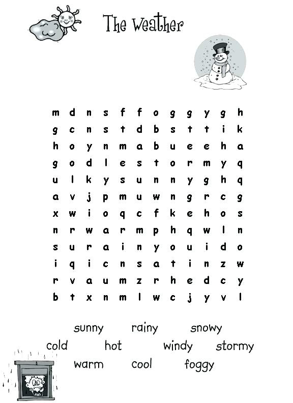 Weather - Third Grade Word Search