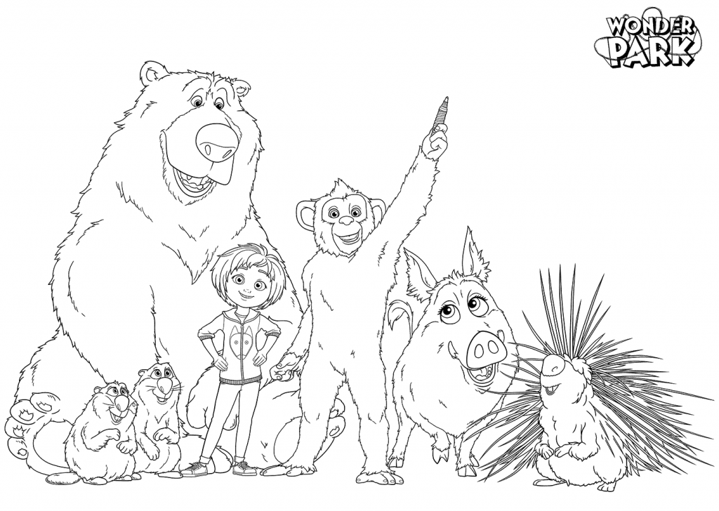 Wonder Characters Park Coloring Pages