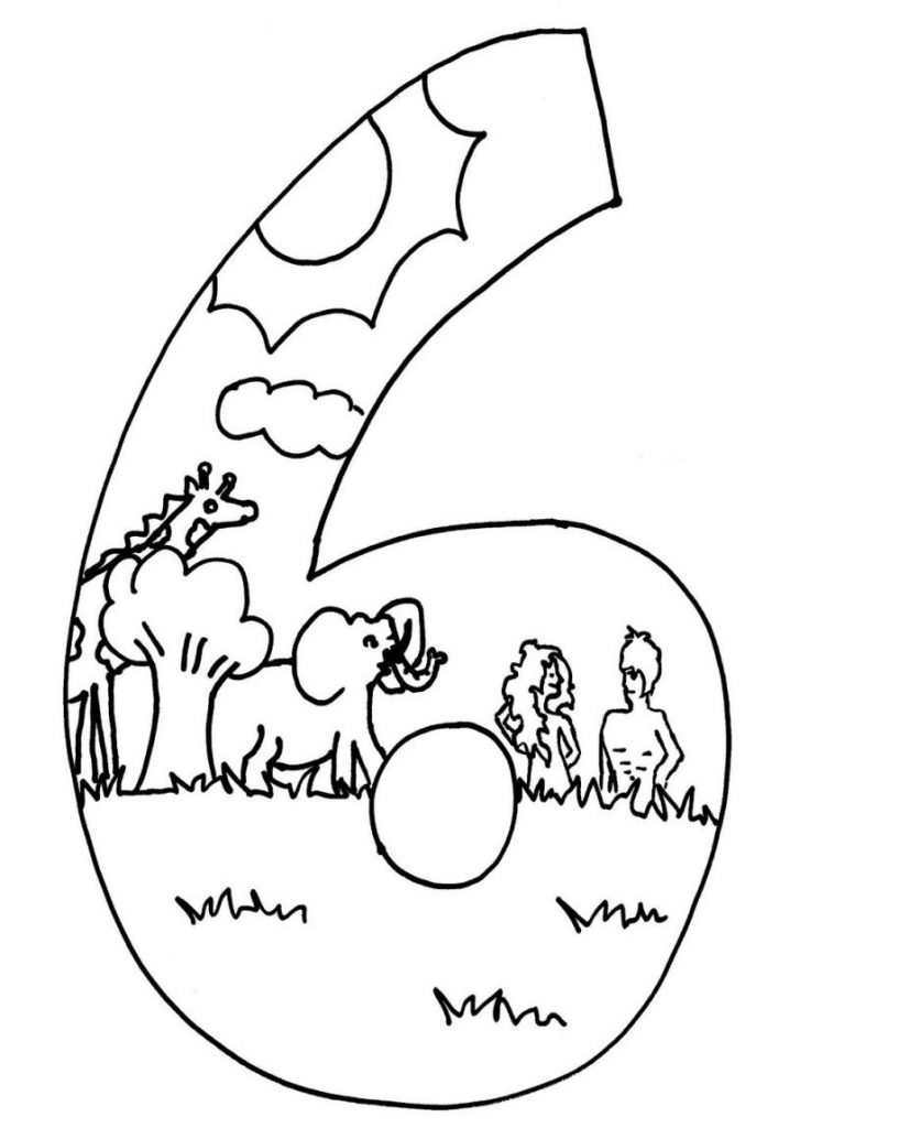 6th Day of Creation Coloring Page