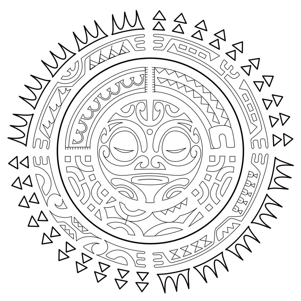 Aztec Sun Tattoo Coloring Page Adults