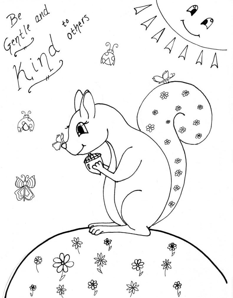 Be Gentle and Kind - Coloring Page for Kids