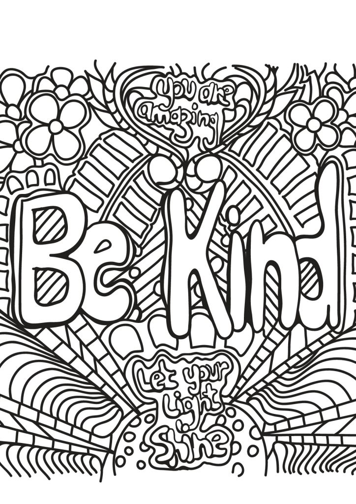 Be Kind - Coloring Page for Adults