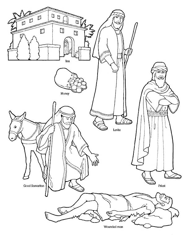 Bible - Good Samaritan Coloring Page