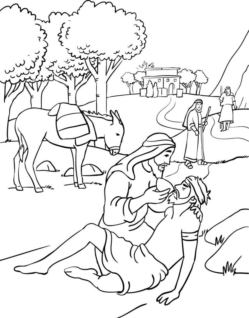 Bible Story Coloring Pages - Good Samaritan