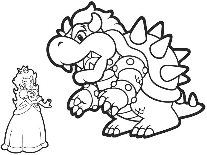 Bowser and Princess Peach Coloring Pages