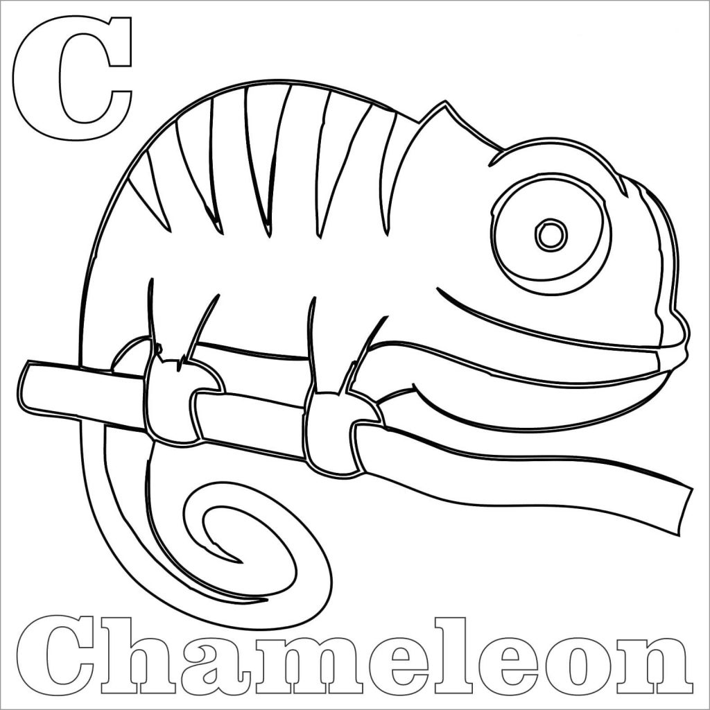 C for Chameleon Coloring Sheet