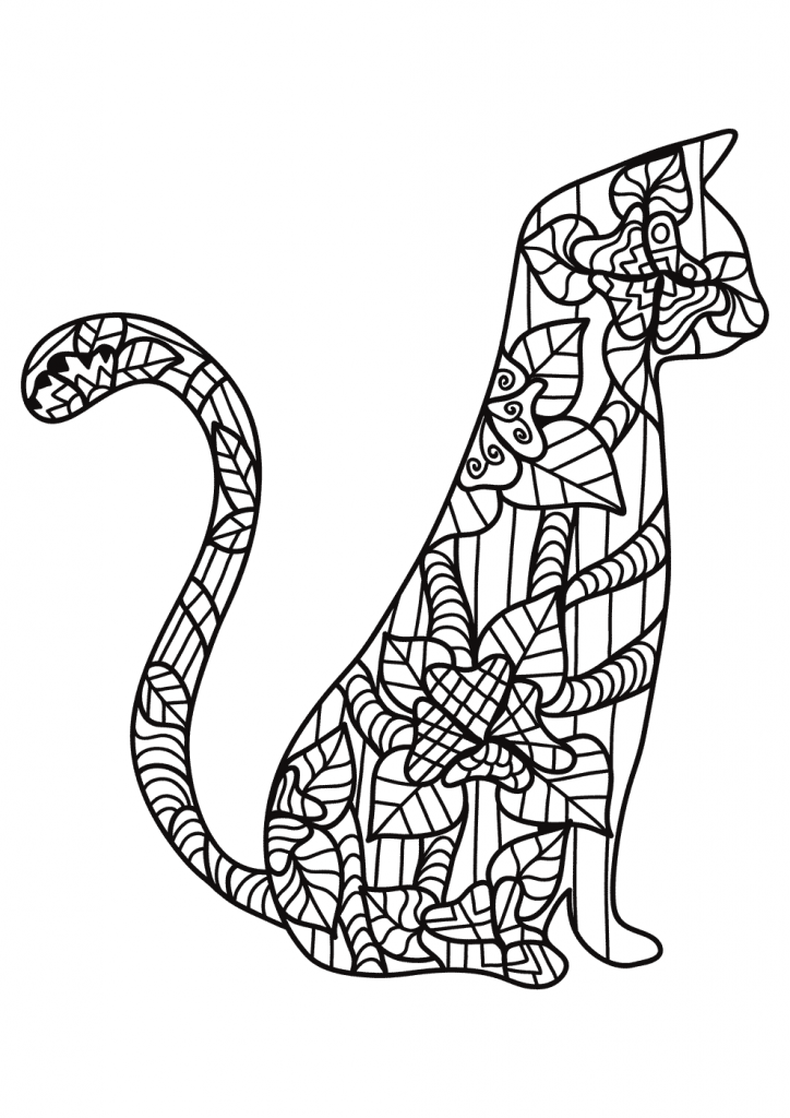 Cat Coloring Page for Adults