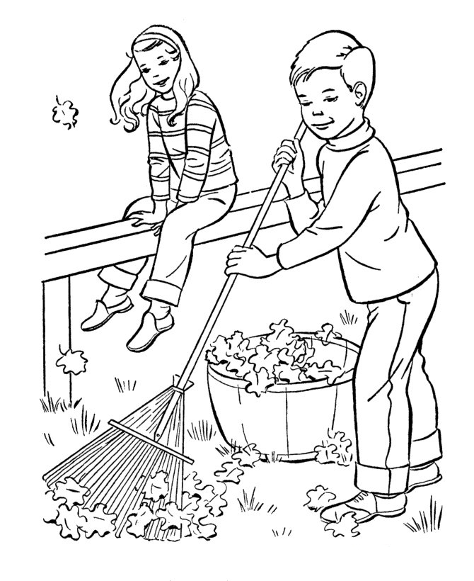 Cleaning up Fall Leaves Coloring Page