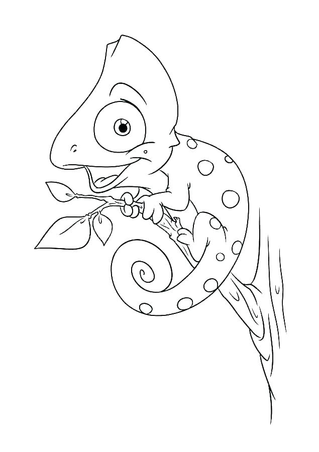 Cute Chameleon Coloring Page