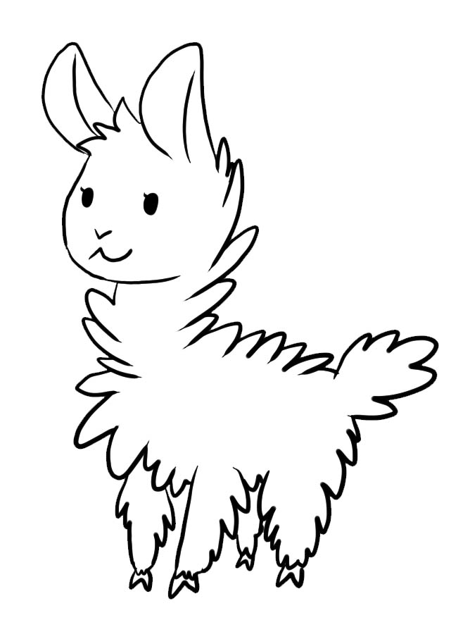 Cute Llama Printable Coloring Page