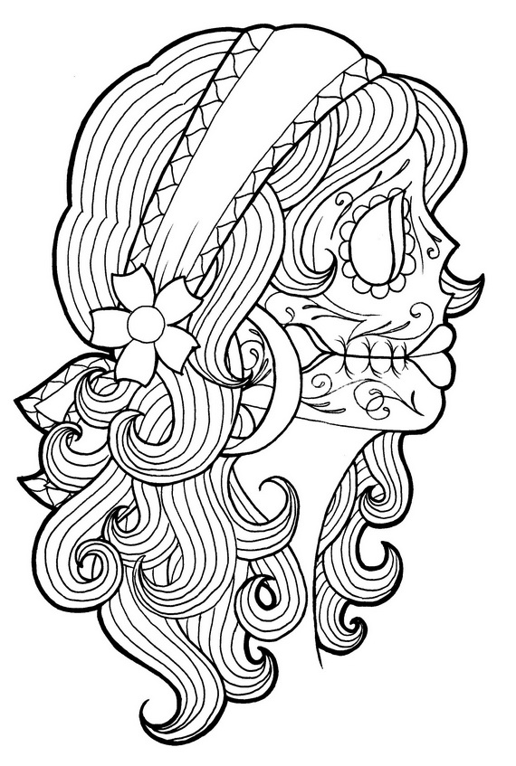 Day of the Dead Tattoo Coloring Pages