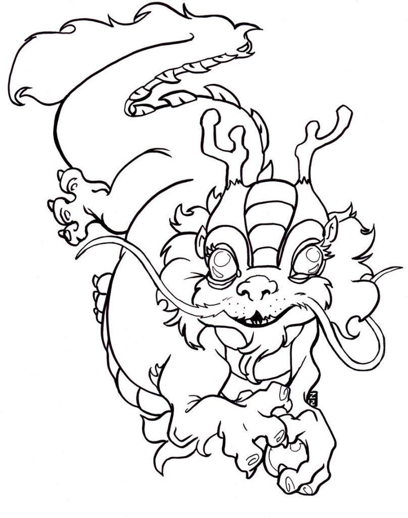 Dragon Tattoo Coloring Page Adults