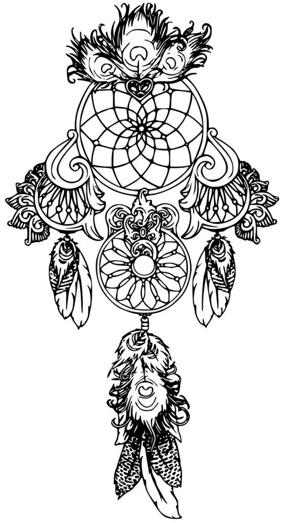 Dreamcatcher Tattoo Coloring Pages for Adults